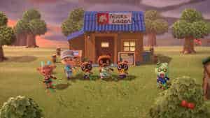In einer kleinen Zeremonie feiern die Inselbewohner die Eröffnung von Nooks Laden.