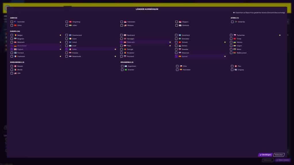 Nur ein Beispiel für den Umfang: Zu Spielbeginn wählen wir, welche Länder und Ligen uns im Spiel begleiten. In den meisten Ländern ist weitaus mehr als nur Liga 1 enthalten.