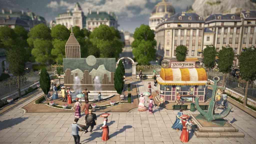 Über den Dächern der Stadt geht das Leben in Anno 1800 im Sommer weiter. Quelle: Ubisoft