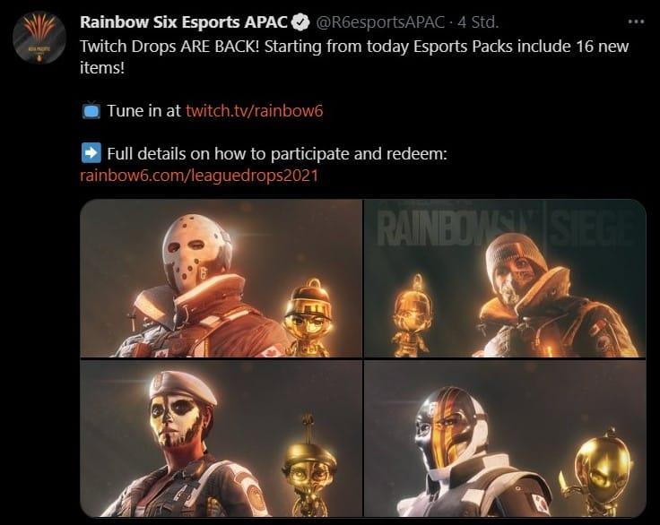 Rainbow Six Twitch Drops PL Pakete