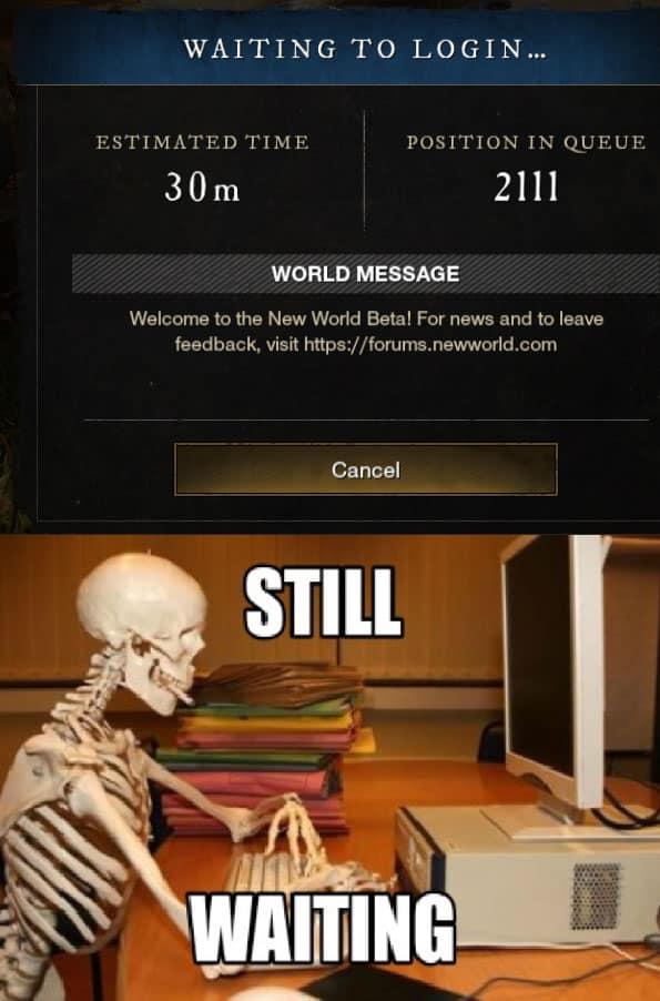 new world warteschlange meme