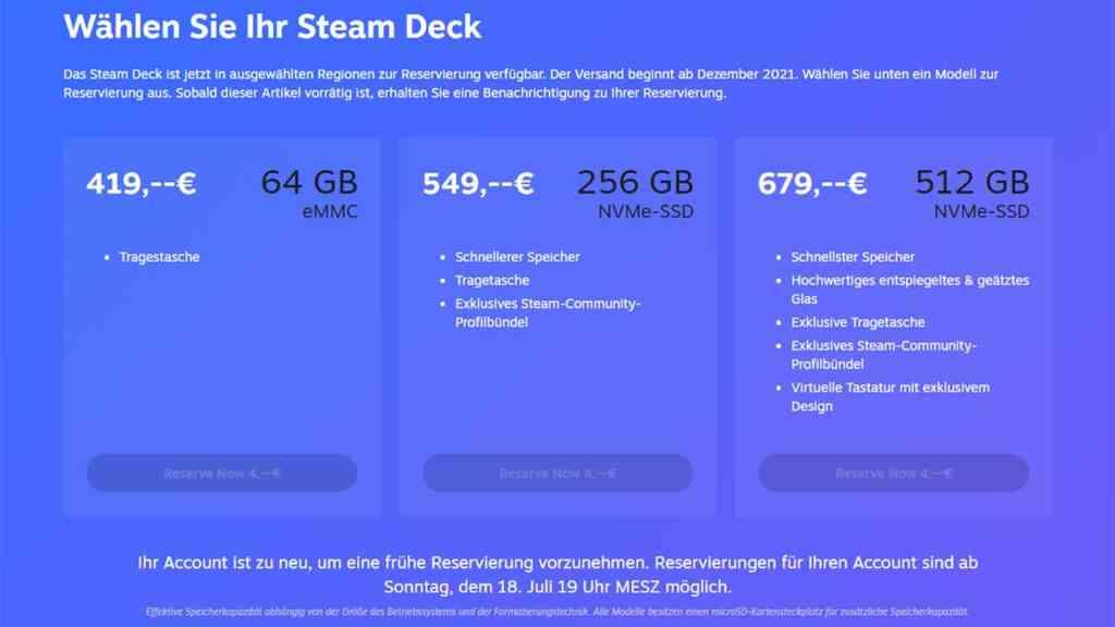 valve steam deck account zu neu