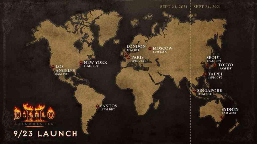 Die Release-Map für Diablo 2 Resurrected. Quelle: Blizzard