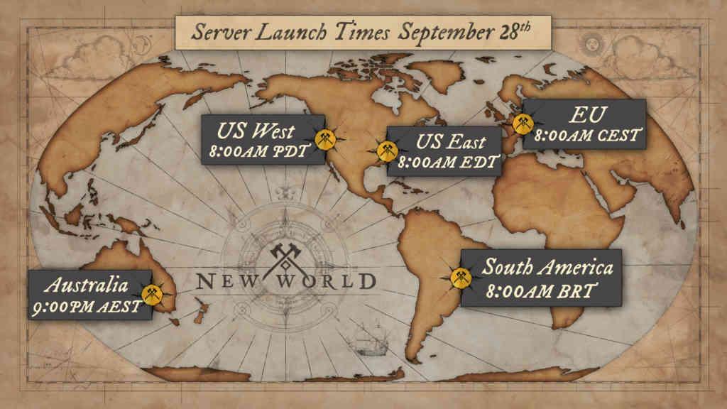 Das sind die Startzeiten für die New World Server! Quelle: Amazon Games