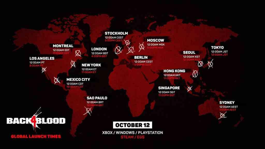 Die globalen Startzeiten zu Back 4 Blood. Quelle: Warner Bros. Games / Turtle Rock Studios