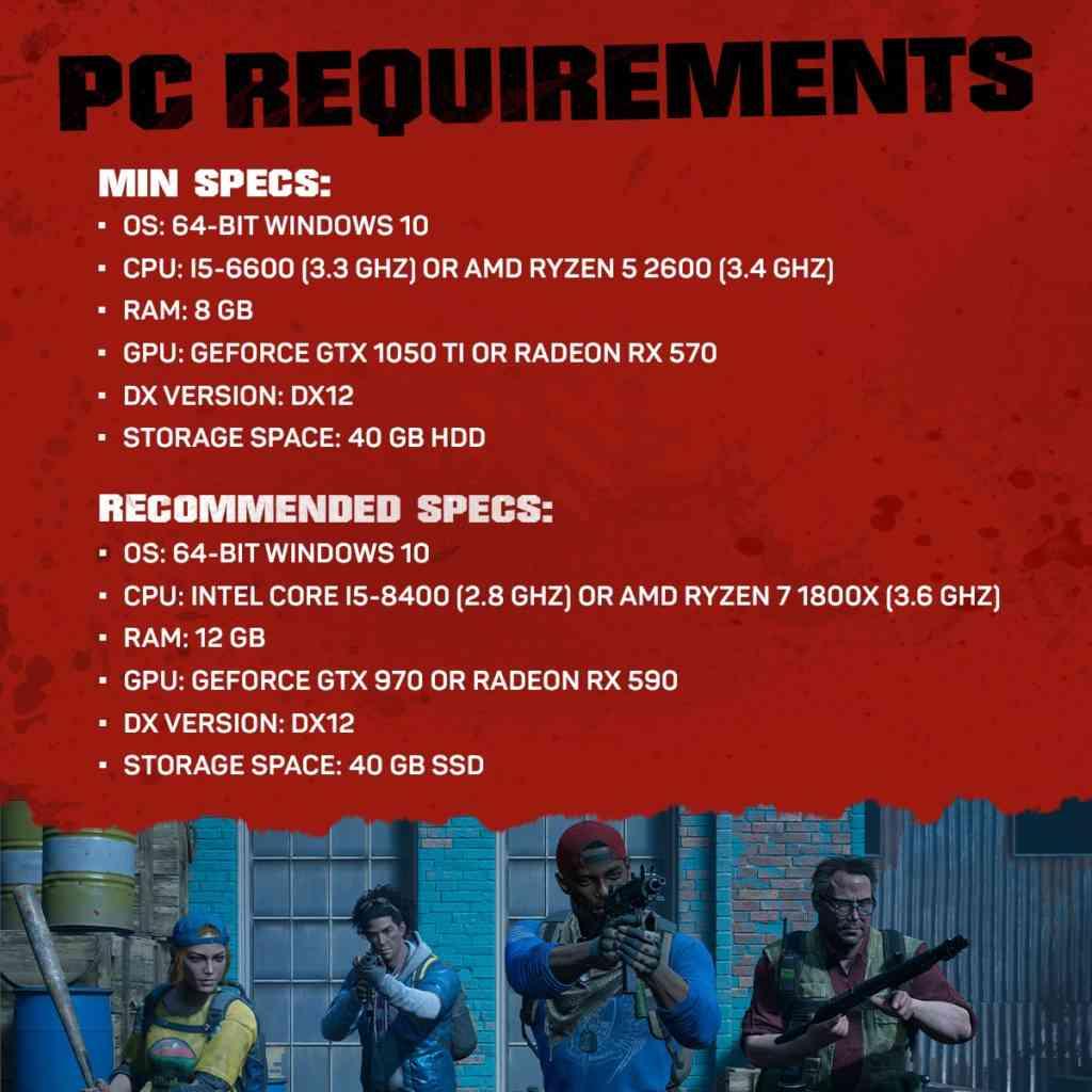 Die minimalen und empfohlenen Systemanforderungen für die PC-Version von Back 4 Blood. Quelle: Warner Bros. Games / Turtle Rock Studios