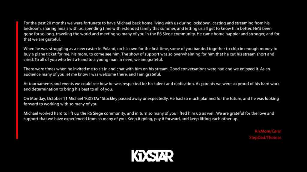 KiXSTAr verstorben - Verkündung durch Interro