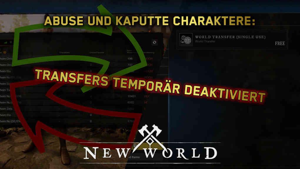 new world servertransfers bugs